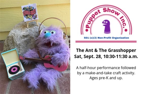 Puppet Show at Carrboro Branch, Sept 28, 10:30 a.m.