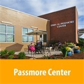 Jerry M. Passmore Center, front garden and entrance.
