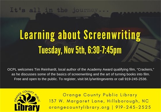 Screenwriting class at Orange County Library