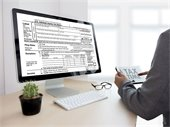 Photo of computer screen with tax return