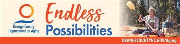 "Department on Aging logo, ""Endless Possibilities"" text, url, and older couple canoeing."
