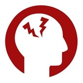 Red/white silhouette of head with red pain symbols