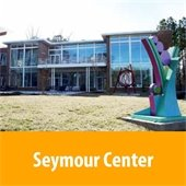 Robert & Pearl Seymour Center, front lawn and sculpture.