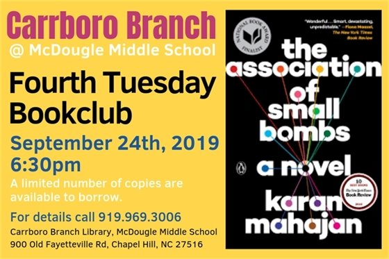 Bookclub at the Carrboro Branch, Sept 24, 6:30 pm