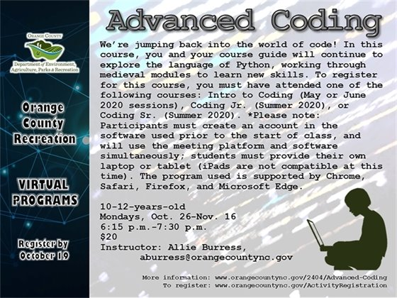 Advanced Coding - 10-12-years-old