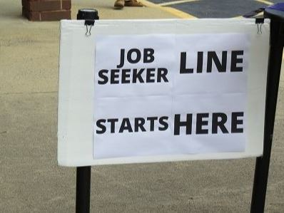 Sign from job fair