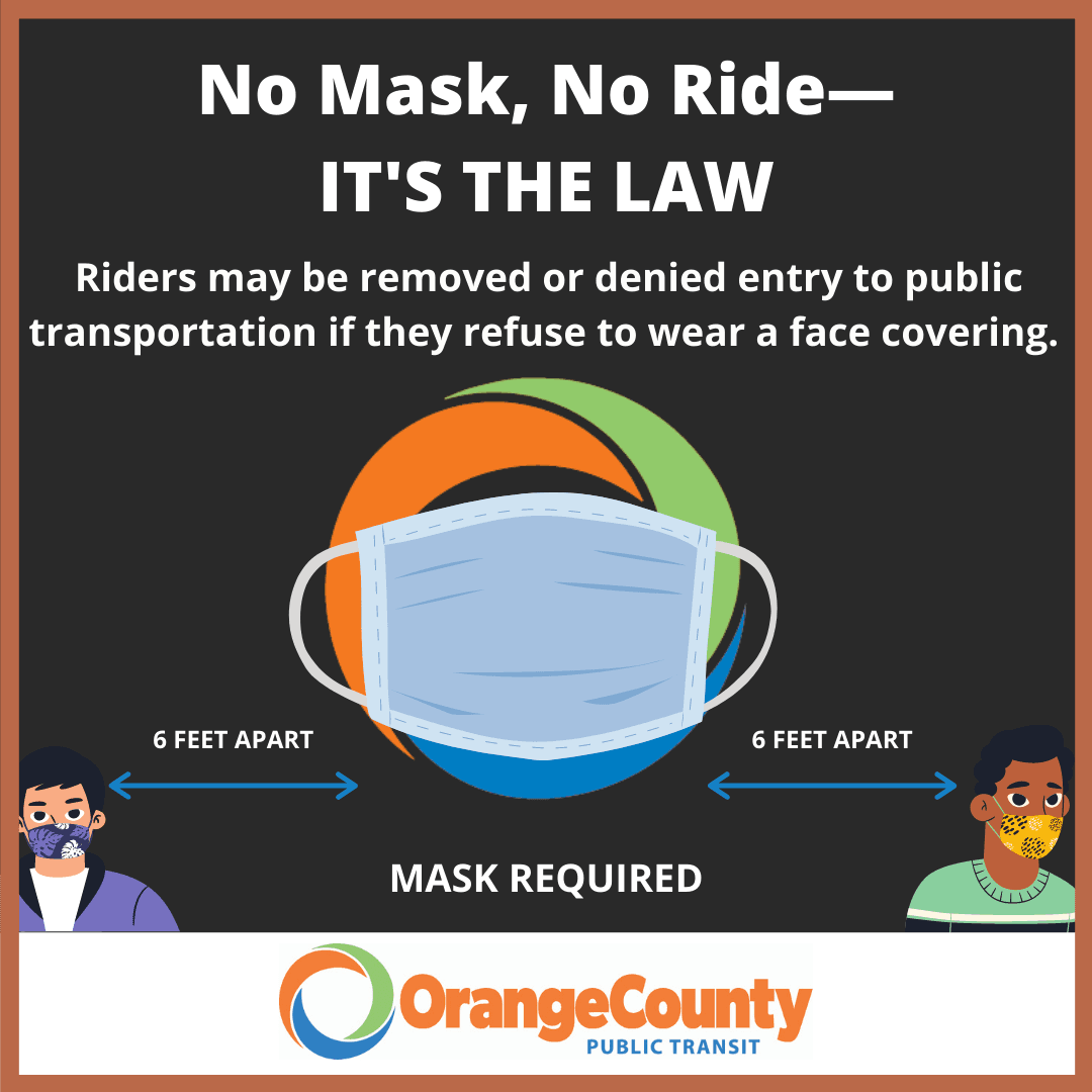 OCPT logo with face mask, No mask, no ride--it's the law