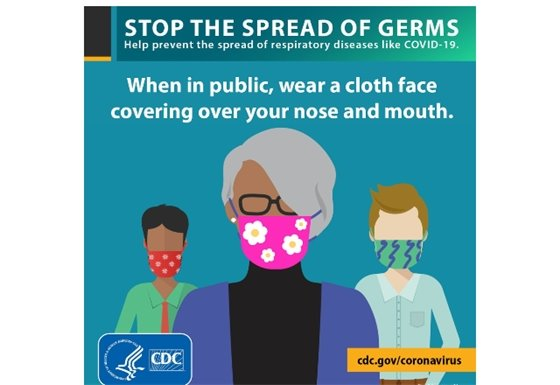 When in public, wear a cloth face covering over your nose and mouth