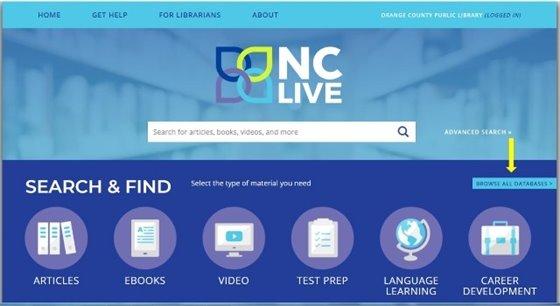 Image of NC LIVE homepage