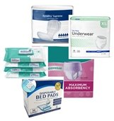 Image of adult incontinence products (pads, underwear and wipes).