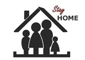 """""""Stay Home,"""" on graphic of house with family inside."""