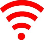 broadband signal (red/white radio waves)