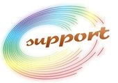 """""""Support"""" in colorful circle."""