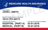 """New sample red, white and blue Medicare Health Insurance card for """"John L Smith"""" with medicare number & Hospital part A and Medical Part B dates."""