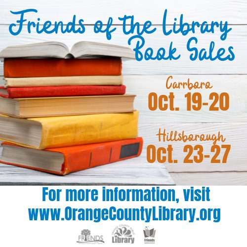 Friends of the Orange County Library book sale graphic