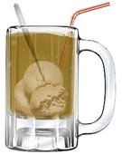 image of root beer float in mug with straw and spoon.