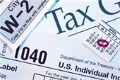 Collage of tax forms (Form 1040, W-2) Calendar