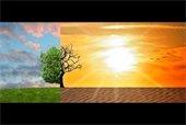 Climate change image: fertile, green landscape transitioning to a hot, dry, barren desert.