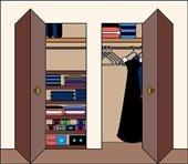 Graphic of an organized closet.