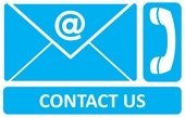 """White text, """"Contact Us"""" on blue background, with email and phone icons"""