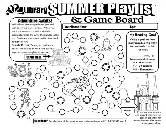 Summer learning game board