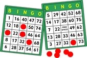 """Two green """"BINGO"""" cards with red markers"""