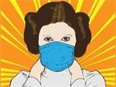 Graphic of Princess Leia wearing a mask
