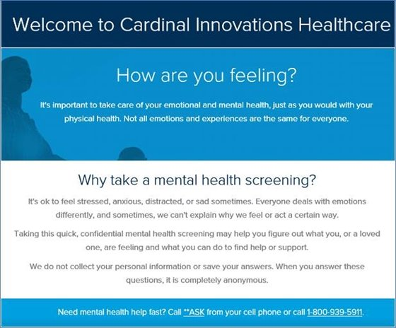 Free Mental Health Screening from Cardinal Innovations