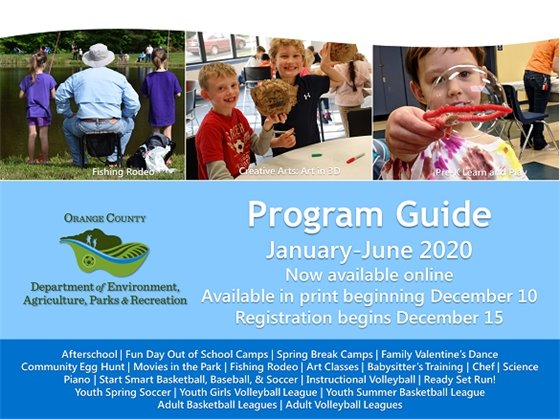 Graphic for Recreation Program Guide for January-June 2020