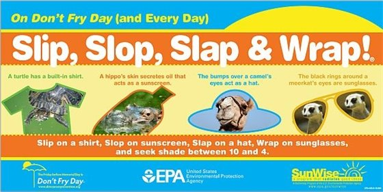 Slip on a shirt, slop on sunscreen, slap on a hat, wrap on sunglasses, and seek shade between 10 and 4.