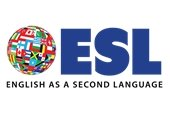 """ESL"" with a graphic of a world made of various national flags"