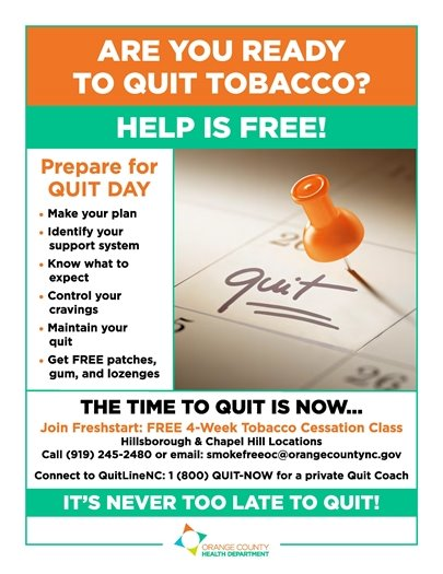 quit smoking flier -- four week classes, call 919.245.2480