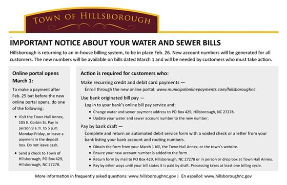 Notice about Water and Sewer Bills