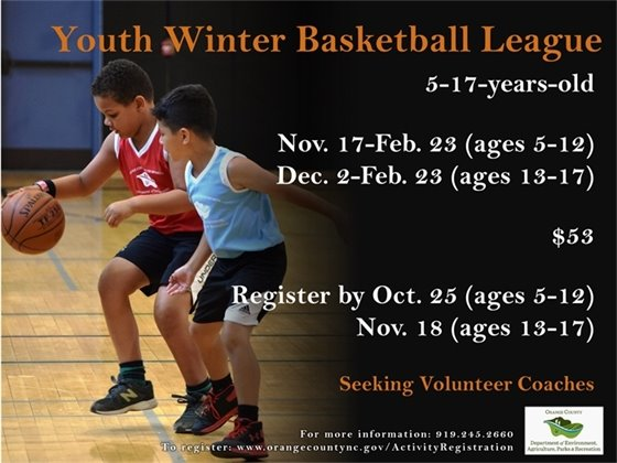 Youth Winter Basketball League: Register by October 25