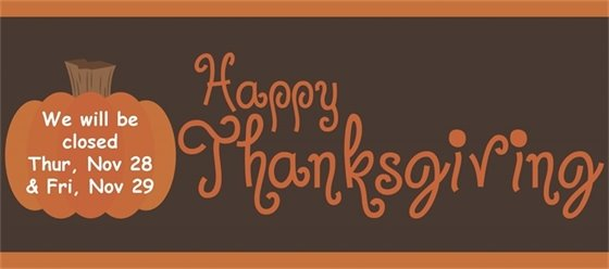 We will be closed on Thursday, Nov. 28 & Friday, Nov. 29. Happy Thanksgiving! (pumpkin on brown background.