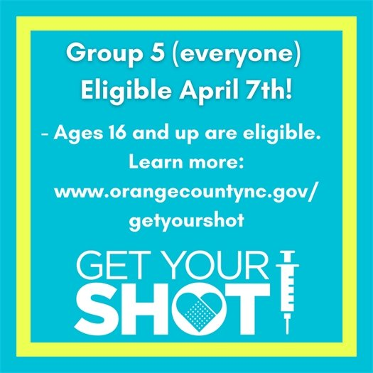 Group 5 (everyone) eligible April 7th! Ages 16 and up are eligible. Click to learn more.