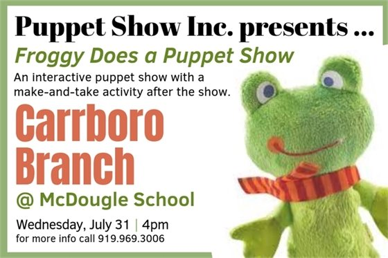 Froggy does a puppet show graphic