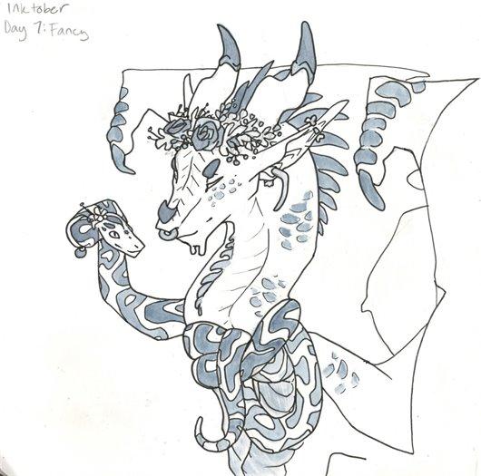 Snake, goat fanciful sketch