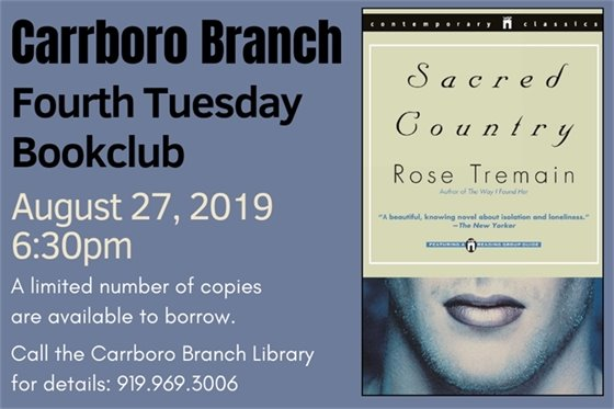 Graphic for Carrboro Branch Fourth Tuesday Book Club meeting