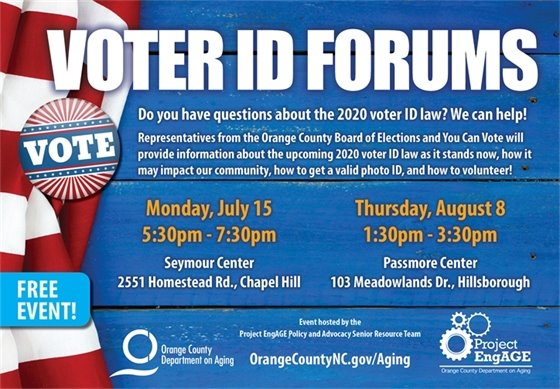 VOTER ID FORUMS: Seymour Ctr., 7/15/19, 5:30-7:30p; Passmore Ctr., 8/8/19, 1:30-3:30p. Questions about the 2020 voter ID law? We can Help!