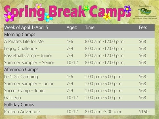Spring Break Camp Schedule
