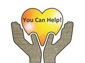"""Two brown linen textured hands holding gold heart with the words, """"You Can Help!'"""