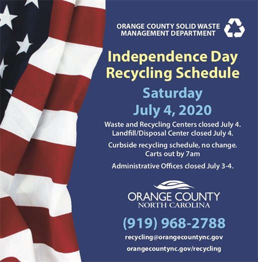 The administrative office will be closed July 3rd.  The waste and recycling centers will be closed July 4th.  Curbside recycling will be collected as usual.