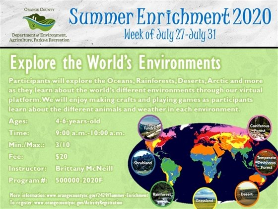 Explore the World's Environments - Week of July 27-July 31