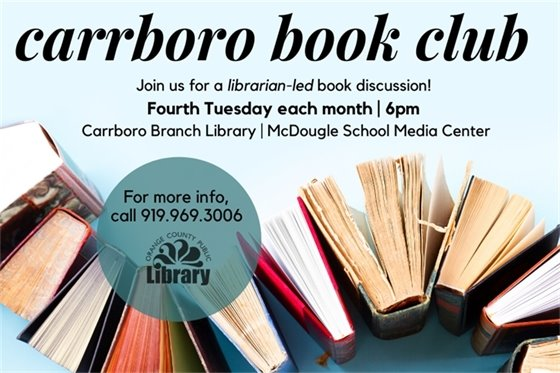 Join us in Carrboro Feb 25 for our monthly librarian-led book club.