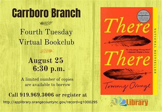 Carrboro Book Clum -- August 25, 6:30