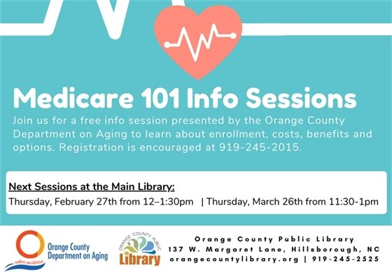 Learn about Medicare at one of these sessions held at the library and hosted by the Department on Aging