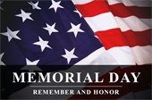 """Flag with text, """"Memorial Day, Remember and Honor."""""""