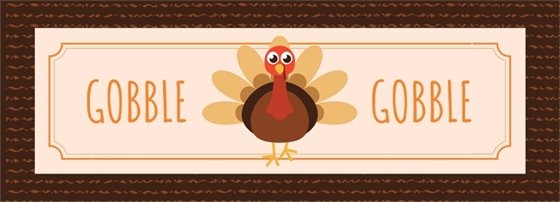 """turkey illustration with words, """"Gobble, Gobble"""""""