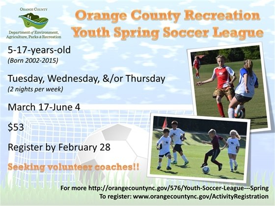 Youth Soccer League registration through February 28